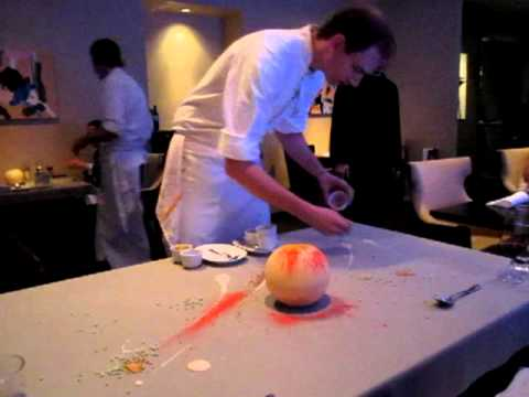 Alinea restaurant 39 s tabletop white chocolate dessert youtube - Table up and down alinea ...