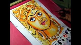 How to Draw Goddess Durga Drawing with Colors