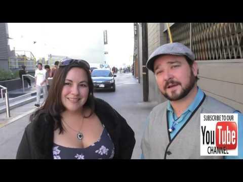 Bradley Pierce with new girlfriend Bella talks about Halloween outside Jimmy Kimmel Live in Hollywoo