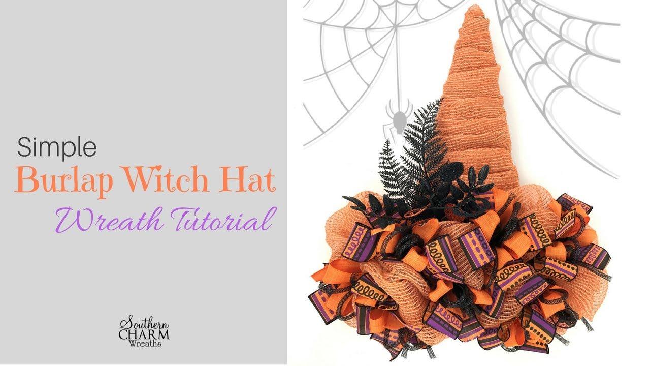 Simple Witch Hat Door Wreath Tutorial - YouTube