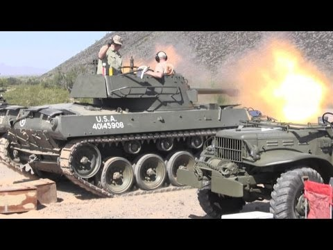 M18 Hellcat tank destroyer firing