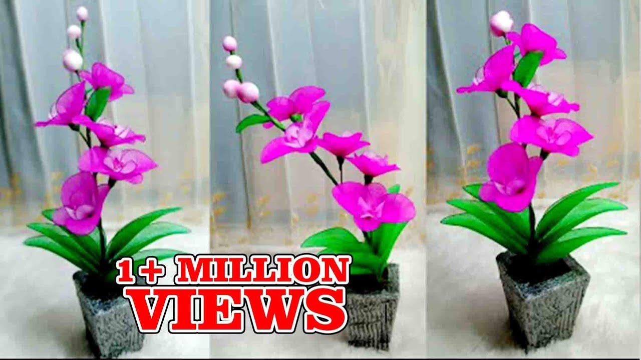 65 Ide Kreatif Bunga Anggrek Dari Stocking Bunga Hiasan Rumah Nylon Stocking Flower Making Youtube