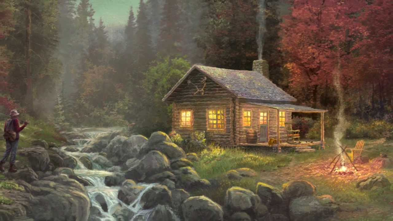 Log cabin in the woods painting - Away From It All By Thomas Kinkade Youtube