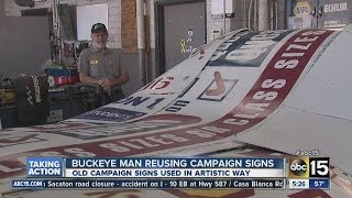 Buckeye man reusing campaign signs