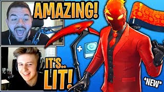 Streamers BUY & React to the *NEW* Inferno Skin, Crimson Scythe Pickaxe & Burnmark Wrap!- Fortnite