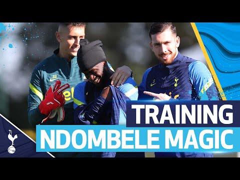 Tanguy Ndombele's sensational skills, clinical shot and goalkeeping drills!  SPURS TRAINING