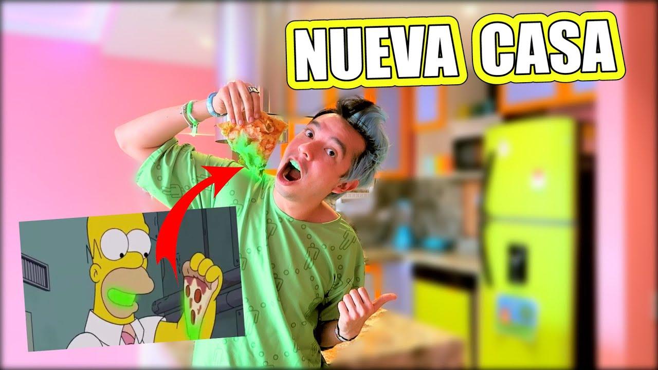 NUEVA CASA y Hago Comida Absurda de Los Simpson *Pizza Radioactiva* - Enchulando Mi Casa Cap #14
