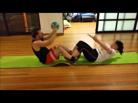 Sit Ups 2 Person Pass Ball Over Head - Snippet Shaun Green Online Personal Training