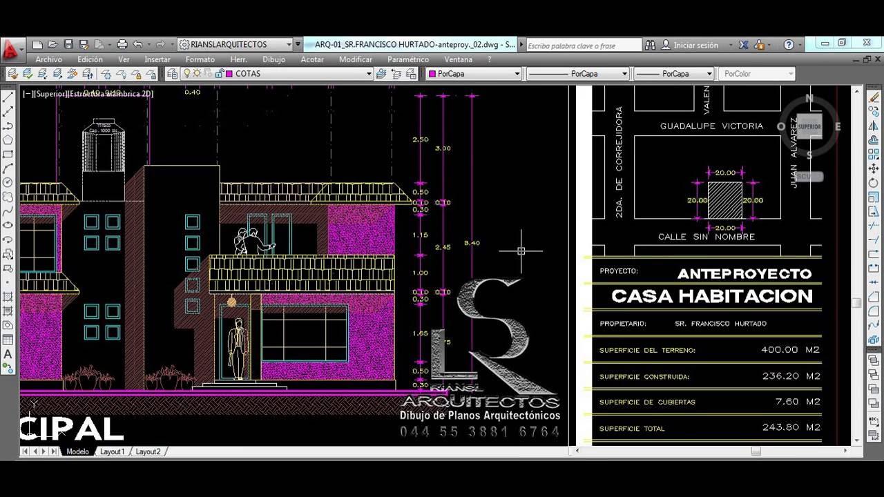 Autocad 2d dibujo de planos arquitect nicos de casa for Planos arquitectonicos de casa habitacion