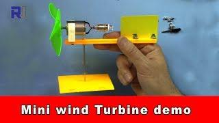 Educational mini wind turbine generates electricity when fan blows to it