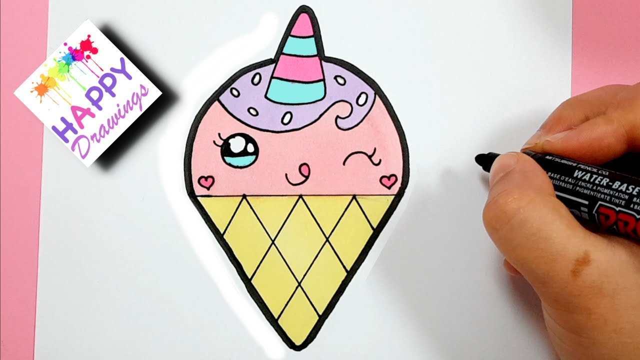 HOW TO DRAW A CUTE LOVELY UNICORN ICE CREAM SUPER EASY ...