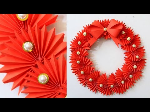 DIY Paper Christmas Wreath | Decoration Ideas for Upcoming Christmas. New YEAR DECORATIONS. 1611