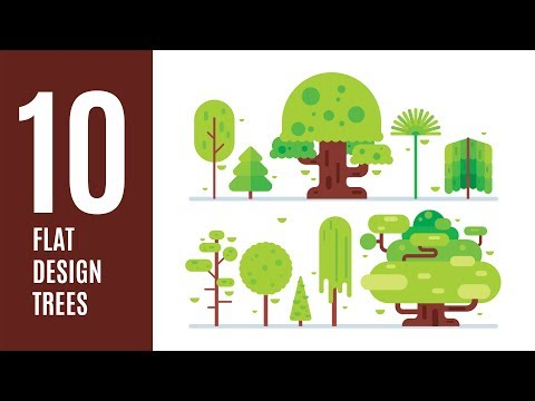 How To Draw 10 TREES In Illustrator For Your Landscape - Flat Design