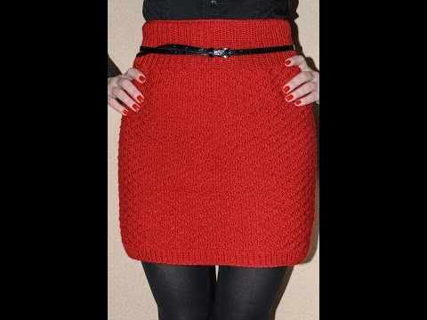 Короткая юбка спицами