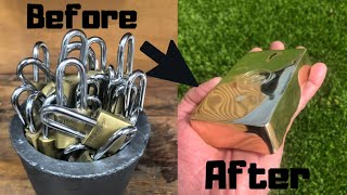 Padlocks To Perfection - ASMR Melting Huge Ingot From Old Padlocks - Molten Brass