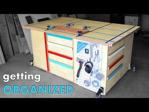 ULTIMATE Workbench to ORGANIZE a Messy Shop | Assembly/Outfeed | Free Plans