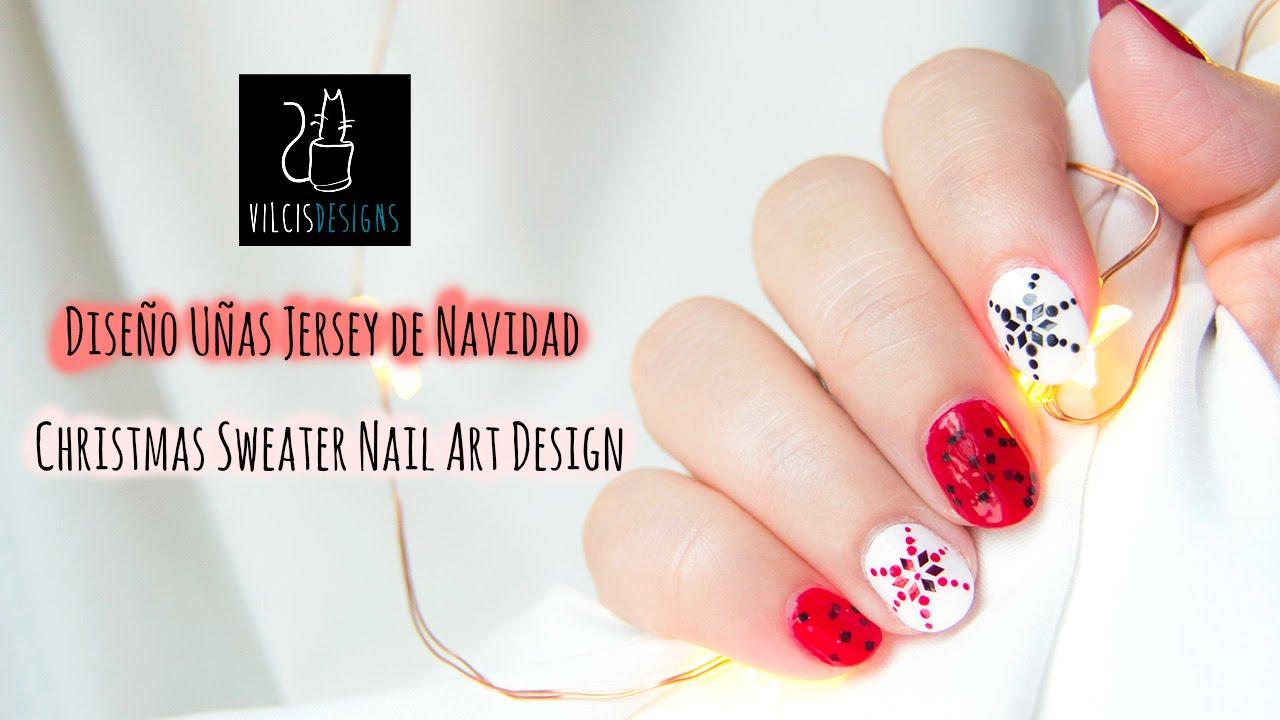 Diseño de uñas JERSEY de NAVIDAD / CHRISTMAS SWEATER nail art design ...