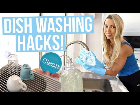22 DISH WASHING HACKS! How To Do Dishes FASTER And EASIER!