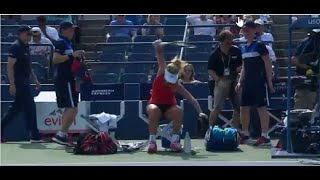 Coco Vandeweghe Smashes Her Racket (9-2-15)