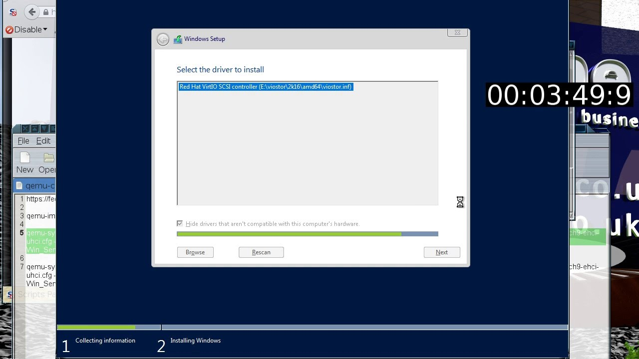 Installing Windows Server 2016 onto Qemu with Virtio drivers and hugetlbfs