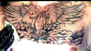 Religious Praying Hands Chest Piece - Tattooed by Lou Bragg