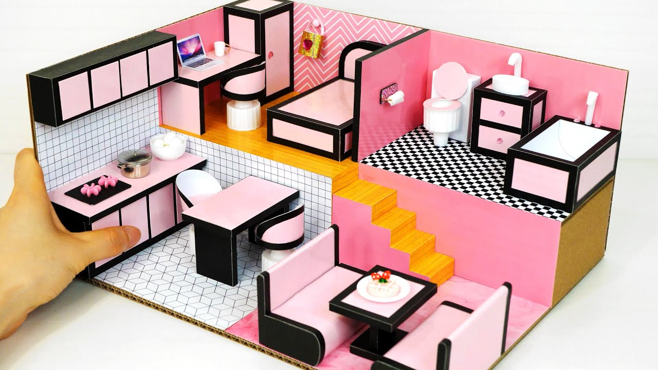 DIY Miniature Cardboard House #47 BLACK & PINK