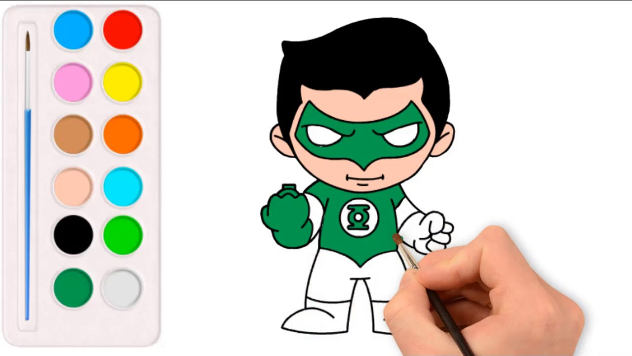 Drawing Green Lantern Coloring Pages For Children Youtube