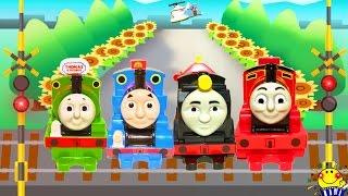 きかんしゃトーマス 踏切 電車 新幹線 機関車が線路を走る★パーシー ヒロ ジェームス ハロルド 誰が出てくる?マクドナルドのおもちゃ 子供向けキッズアニメ