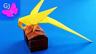 Оригами Попугай из бумаги