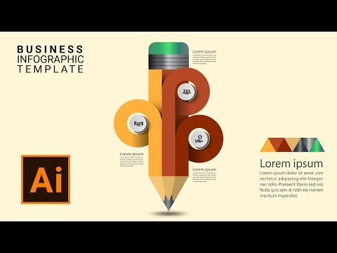 Free modern infographic template pencil options vector download illustrator tutorial