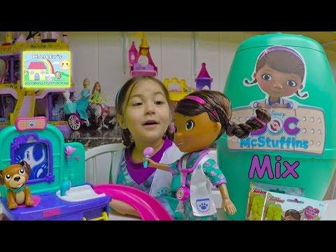 BEST DOC MCSTUFFINS SURPRISE TOYS Huge Doc McStuffins Surprise Egg Toy Playing Disney Junior Videos
