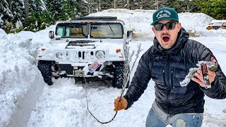 stupid-idiot-gets-100-000-hummer-h1-stuck-snapped-steel-winch-cable