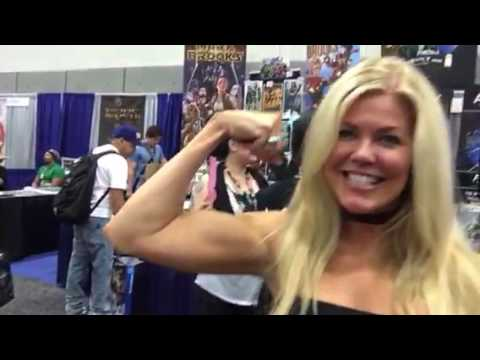 Tracey Birdsall Buffed For Road Warrior Robot Fighter At Comic Con #SDCC