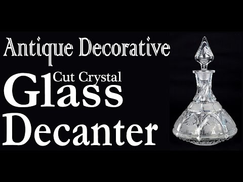 Antique Decorative Cut Crystal Glass Decanter Clear White Gl