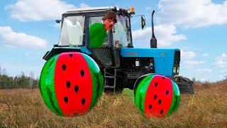 Колесо отвалилось у Трактора. Малыш помог Папе отремонтировать сломанный трактор.