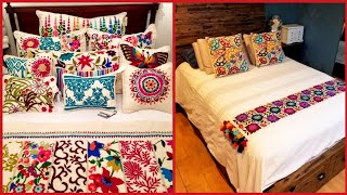 Modern Hotel Style  Embroidered Floral Duvet Comforter Cover and Shams Set with Decorative Pillows.
