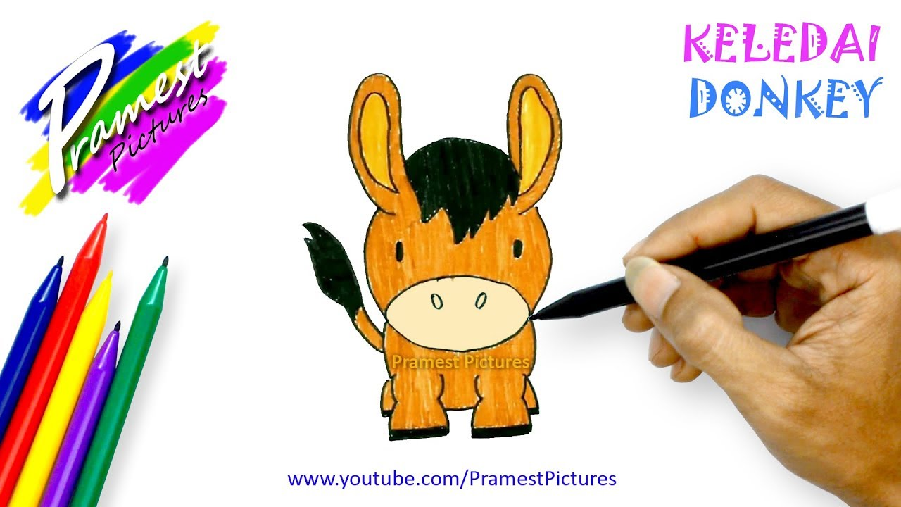 How To Draw A Donkey Animal Coloring Pages For Kids