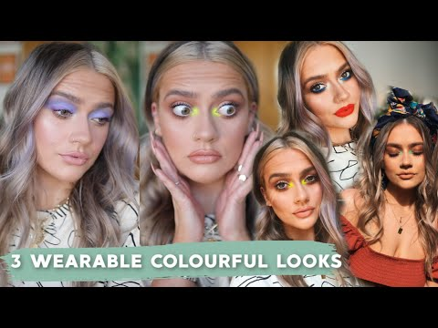 HOW TO 'PULL OFF' COLOURFUL MAKEUP! 3 QUICK & EASY LOOKS | PASTEL & NEON EYESHADOW! | EmmasRectangle - YouTube