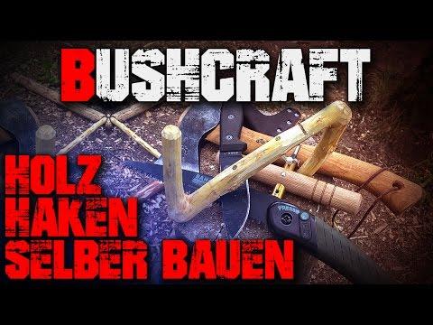 DIY Bushcraft Holz Haken selber bauen - Säge Axt Messer - Outdoor Survival Deutsch Deutschland