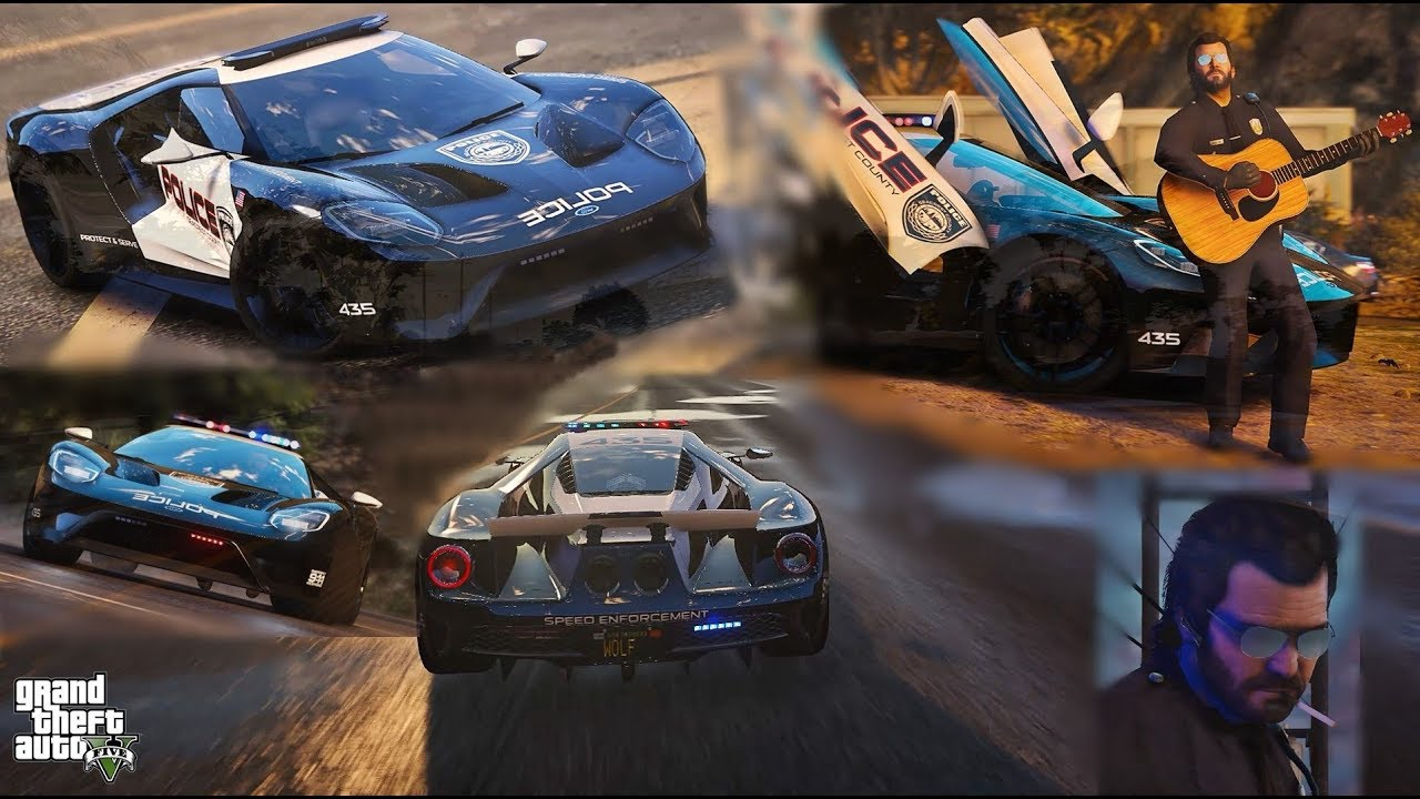 Gta   Ford Gt Hot Pursuit Police Ft Micheal The Lonely Cop  E C Aa M V G A Ultra Realistic Graphics