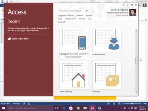 Lecture 2. Microsoft Access 2013/356 Screen Elements and Navigation pane Trainings in Urdu