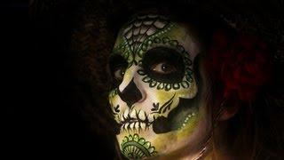 كيفية طلاء الوجه المكسيكي يوم الموتى الجمجمة السكر