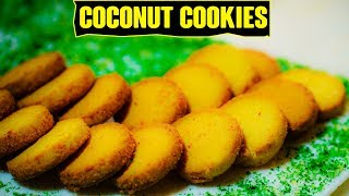 Coconut Cookies (Bakery Style) Recipe in Hindi - Eggless Coconut Biscuits | Foodies