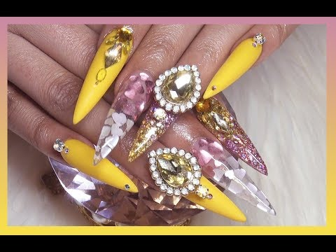 Yellow Diamond Ring Inspired Acrylic Nails | Very Detailed Tutorial