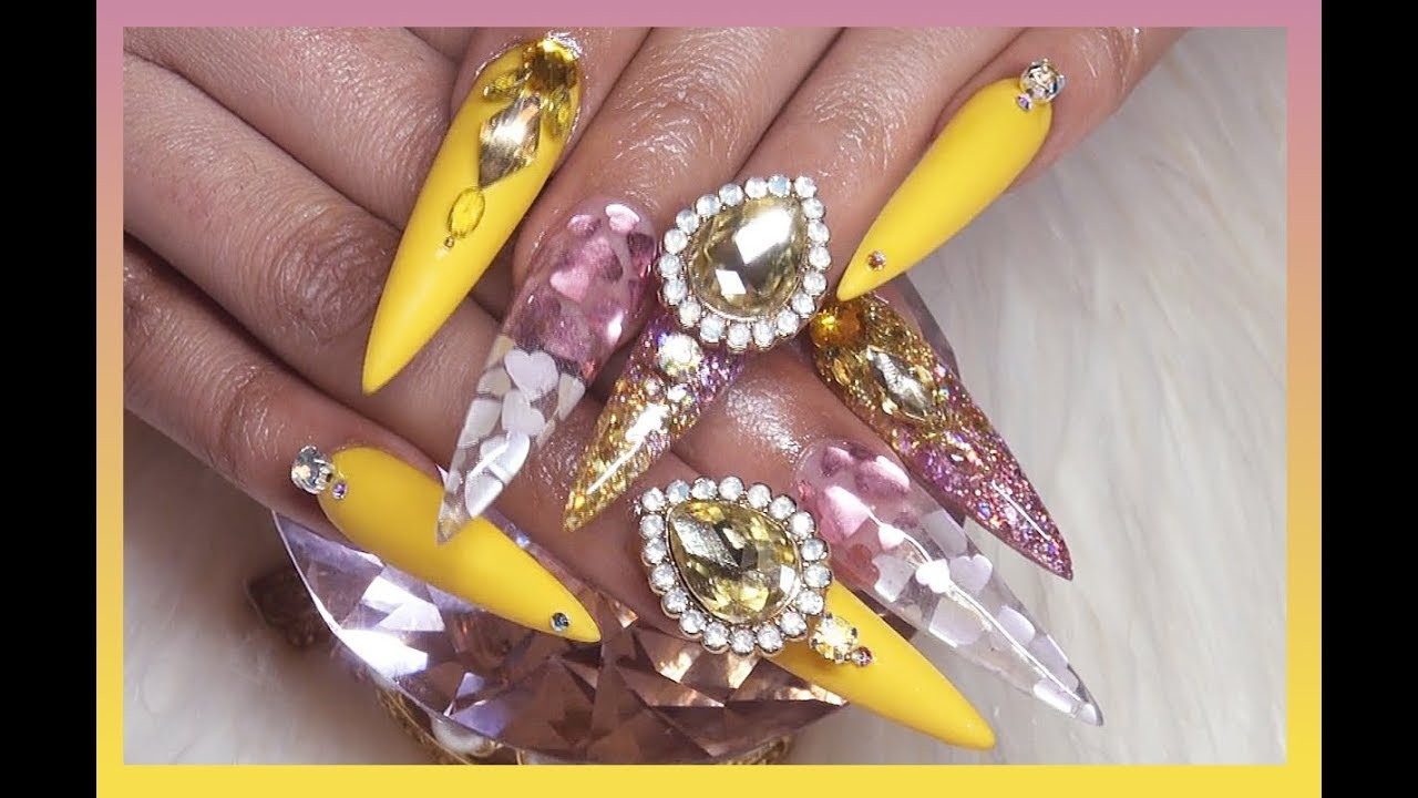 Yellow Diamond Ring Inspired Acrylic Nails Very Detailed