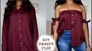 DIY Off The Shoulder Shirt | Men's Shirt Refashion