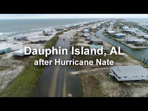 Dauphin Island damage from drone after Hurricane Nate