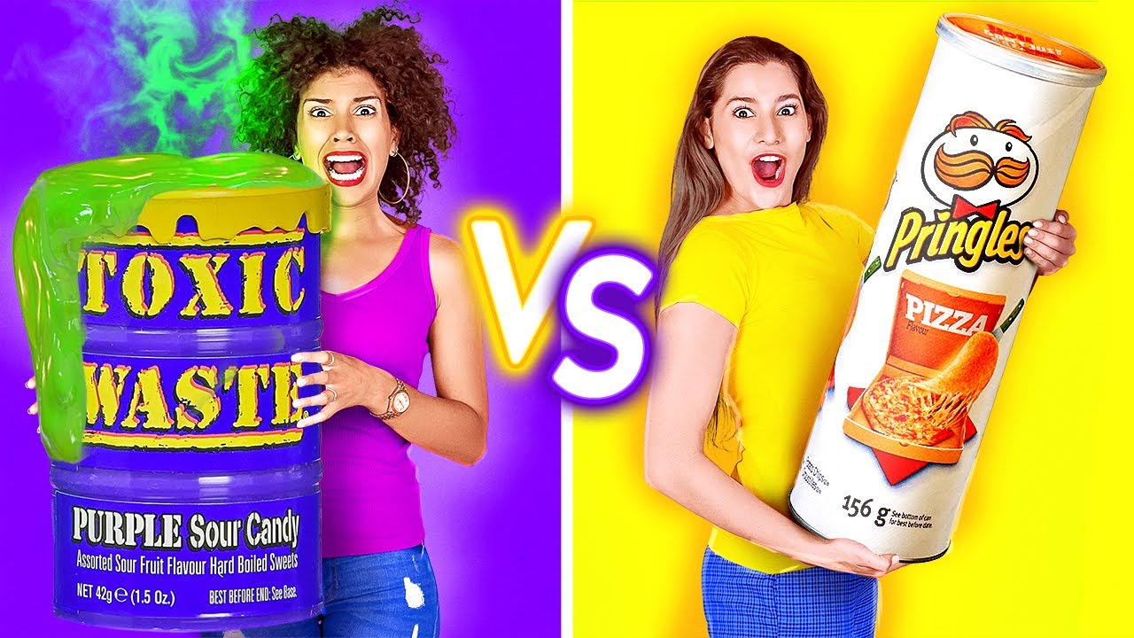 EATING ONLY 1 COLOR FOOD FOR 24 HRS! Last To STOP Wins! PURPLE VS YELLOW Mukbang by 123 GO!CHALLENGE