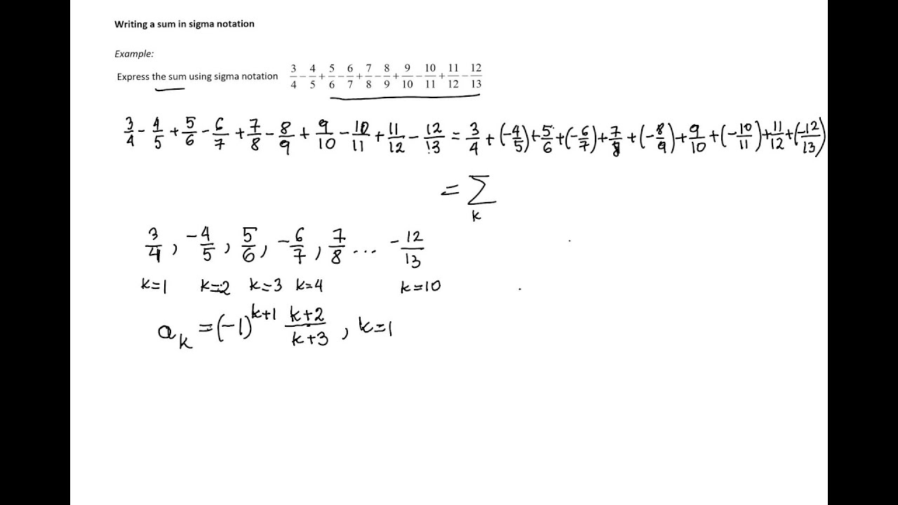 Writing a sum in sigma notation youtube falaconquin