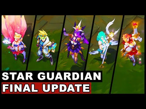 All New Star Guardian Skins Final Update Ahri Ezreal Soraka Miss Fortune Syndra (League of Legends)